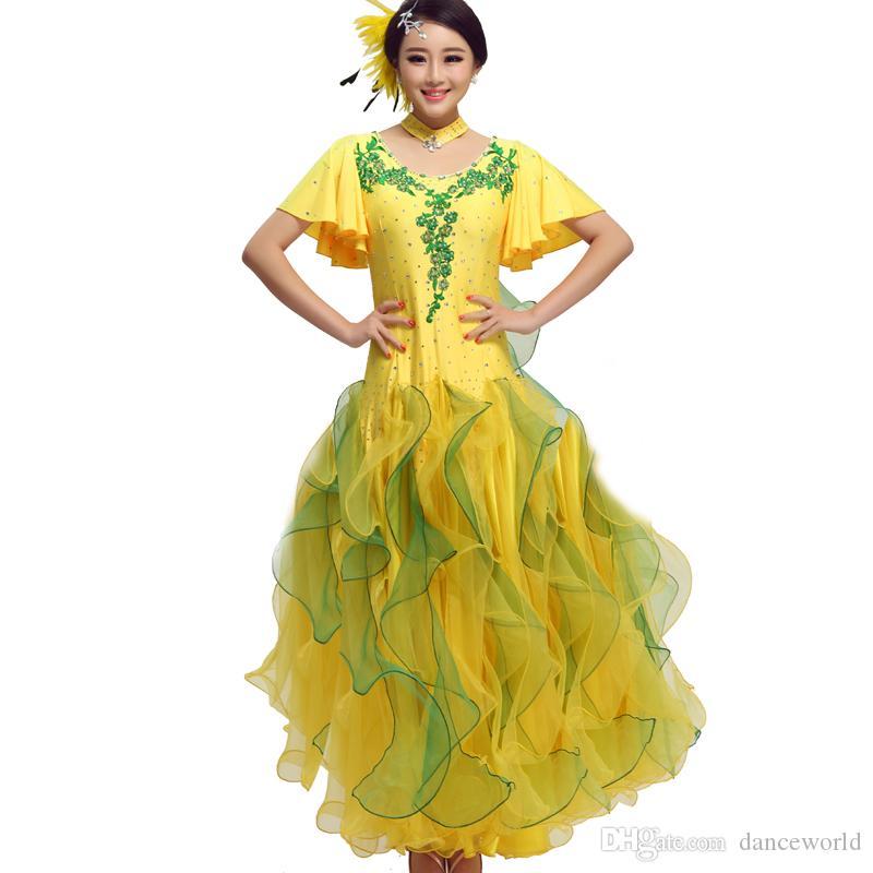 3 renkler Seksi elbise modern yetişkin elmas nakış Waltz Tango Foxtrot quickstep kostüm rekabet giyim standart balo salonu dans etek