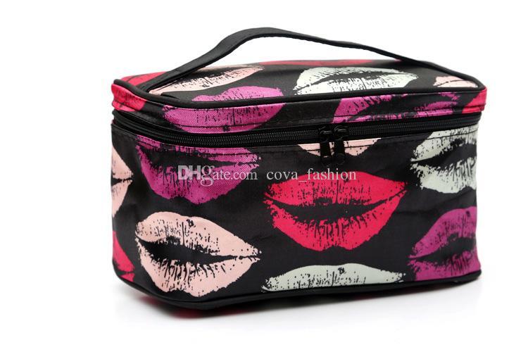 es barato bolso de maquillaje con cremallera labio Zebra Dot flores patrón de viaje de las mujeres bolso cosmético envío libre venta al por mayor ELB063