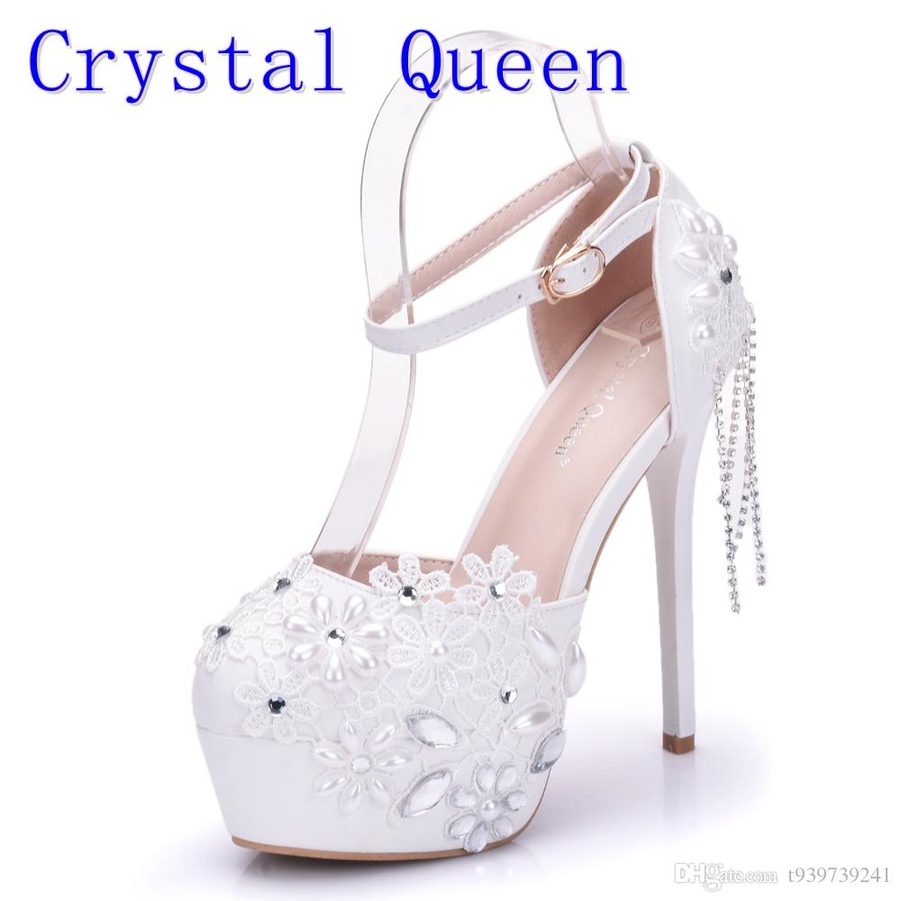 Crystal Queen Sandals 14CM High Heels Women Pumps Sexy Style Buckle Strap  White Lace Pearl Tassel Fower Wedding Shoes Summer Vegan Shoes Cheap Heels  From ... 5b2d26326b3c