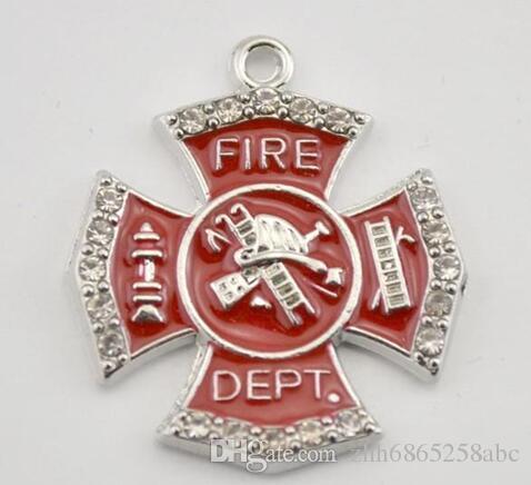 50 pz / lotto Single Side Fire Dept Badge cristalli di smalto rosso in lega di zinco ciondolo fascino fare gioielli
