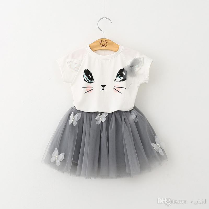 7 style two-piece Printed sleeveless cartoon t-shirt+short skirt cartoon outfit suspenders two-piece outfit
