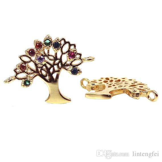 18K Gold Plated Tree of Life Connector with colorful cz zircon, Pave Cz Life Tree Jewelry Connector, Life Tree Charms Jewelry Findings