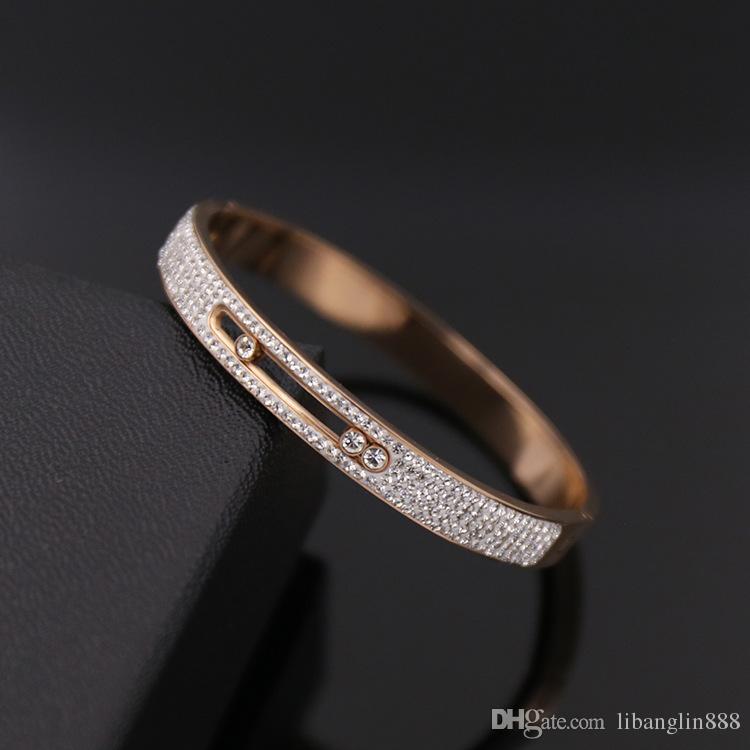 Высокое качество любителей титана стальные браслеты любовь с подвижными бриллиантами браслет в 57 мм пр Бесплатная доставка