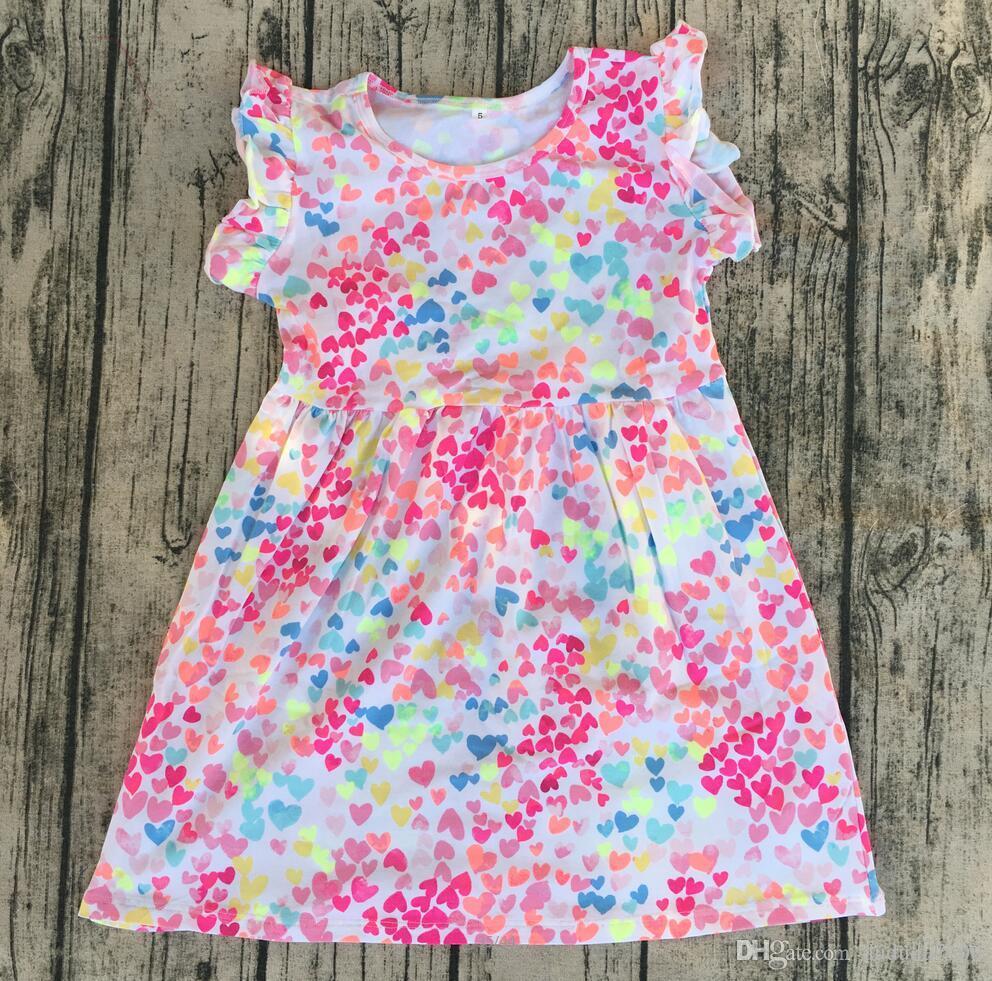enfants robes de fantaisie de coton de style de la mode pour bébé enfants filles robes d'été sans manches Flutter