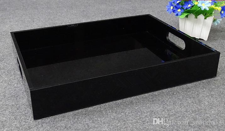 Lüks siyah Akrilik Lady makyaj Masaüstü Takı Organizatör CC kozmetik saklama kutusu parfüm ruj dudak Tepsi sıralama kutusu
