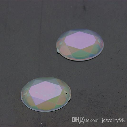13*18mm Crystal AB Oval Acrylic Rhinestones flat back Beads Jewelry Garment Accessories Sew on 2 Hole ZZ19