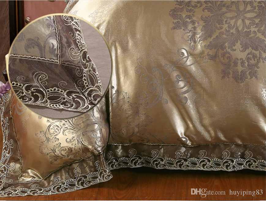 Café de prata de ouro jacquard conjunto de cama de luxo queen / king size mancha cama set 4/conjuntos de capa de edredão de seda de renda de algodão lençol têxtil de casa