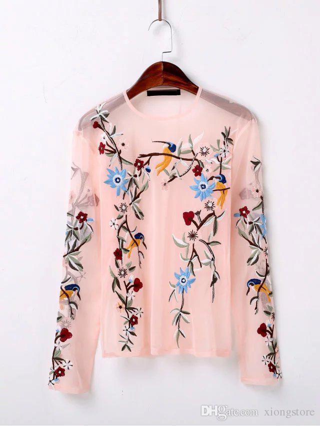 nuovo arrivo hot pink 2019 Moda Mesh prospettiva Sexy donne camicette Camicie girocollo manica lunga ricamo floreale camicetta Top di marca