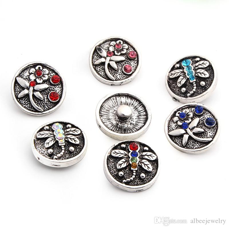 Mix Fashion Rhinestone Dragonfly Noosa Chunks Metal Ginger 18mm Snap Buttons For Wrist Watch Jewelry Findings