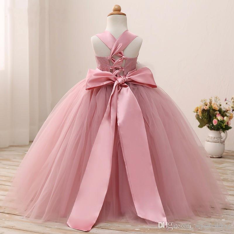 Blusher Pink 2019 Birthday Dress For Little Girls Halter Tutu Gown Flower Girl Dresses With Sash Toddler Pageant Gowns Custom Quality