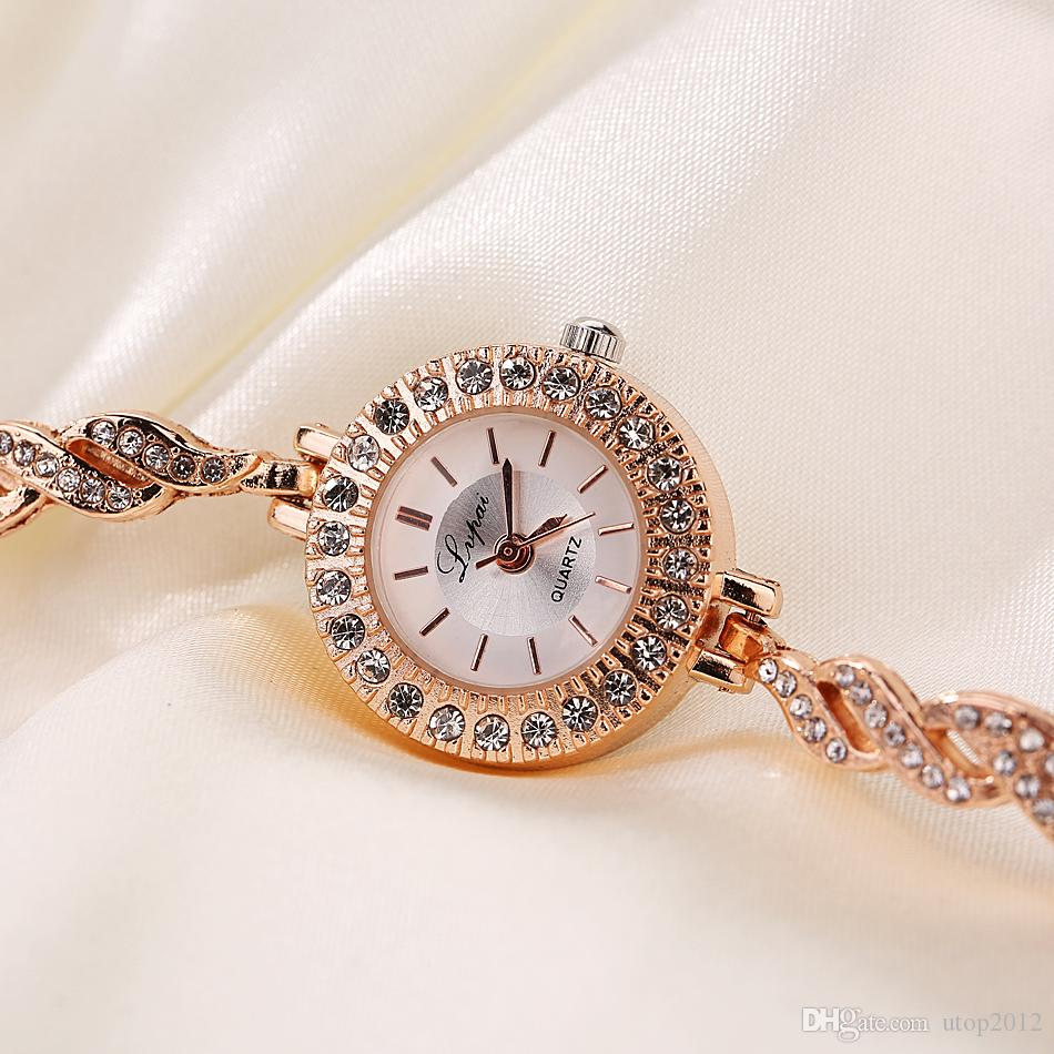 Retail Wholesale High quality Small Dial Diamond Watch Stainless Steel Strap Women Casual Dress Quartz Watch /Gold/Rose Gold/Silver