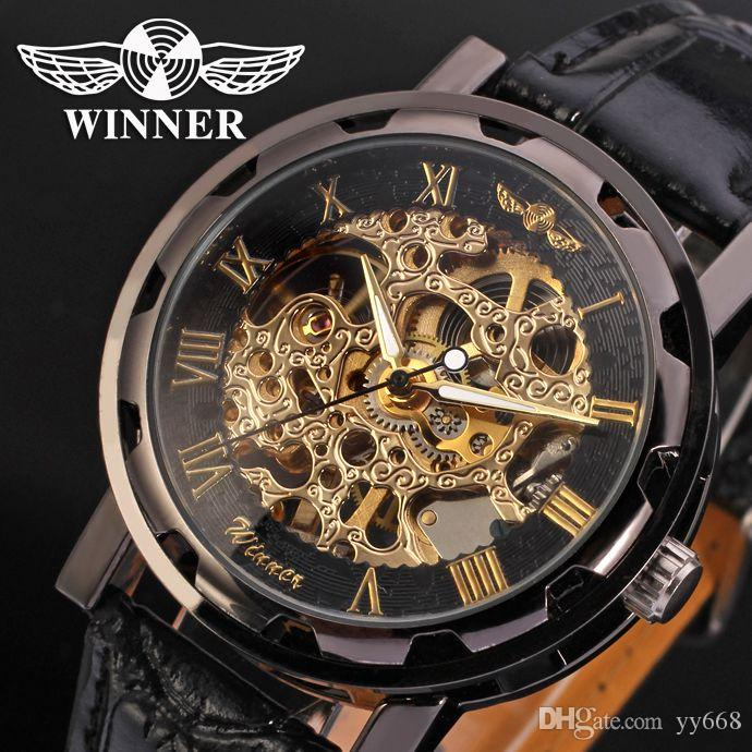 Watches Cool Steampunk Fashion Male Mechanical Wristwatch Dress Men Watch Top Brand Luxury Automatic Skeleton Watch Black Leather Band