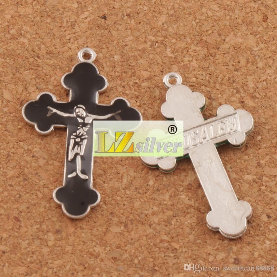 エナメルイエス・クルクフィックスクロスチャームペンダント70ピン/ロット21x33.5mmアンティークシルバーファッションジュエリーフィットブレスレットネックレスイヤリングL424