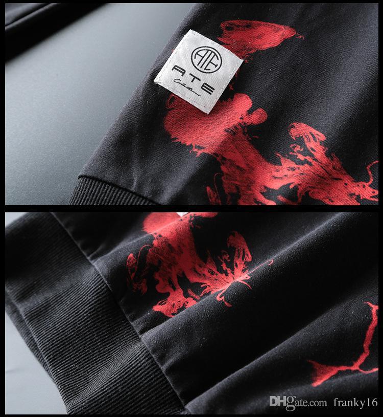 Più caldo !!! Autunno Inverno 2017 Uomini Maglione O Collo Completa Manica Lunga Stampa Digitale Felpe di Cotone Senza Cappello Taglia M-3XL