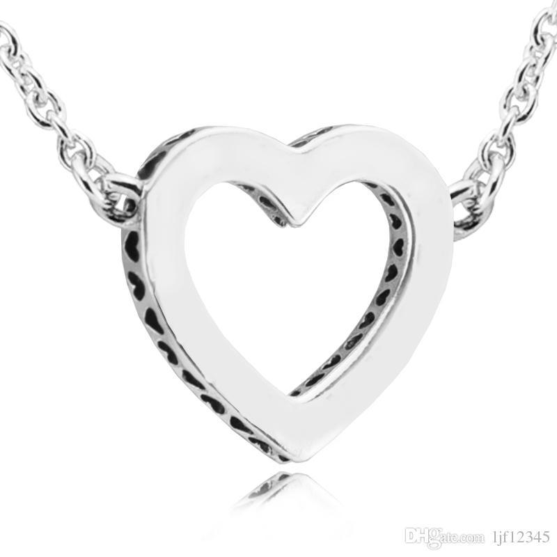 День святого Валентина любящие сердца С ясно CZ ожерелье подвески стерлингового серебра ювелирные изделия для женщины ювелирные изделия делая chorker ожерелье с шармом