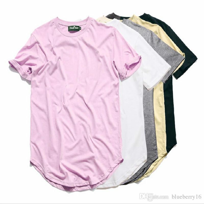 Curved Hem Hip Hop Tshirt Men Summer Blank Extended Mens T Shirts ...