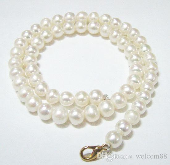 White Round Freshwater Pearl Fashion Necklace Lobster Clasp 16inch For DIY Craft Jewelry Gift P8