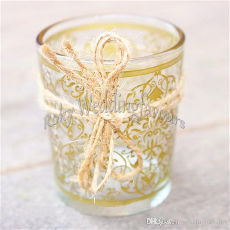 Party Supplies Golden Renaissance Glass Tea Light Holder Candle Holder Glass Cup Wedding Favors Party Table Decors