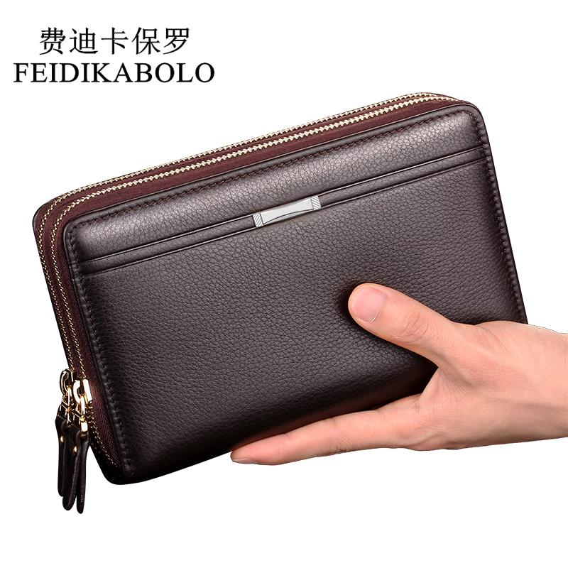 c4739844f261 FEIDIKABOLO Double Zipper Men Clutch Bags PU Men S Leather Wallet Men Handy  Bag Male Long Wallets Man Purses Carteira Masculina Pierre Cardin Wallet  Black ...