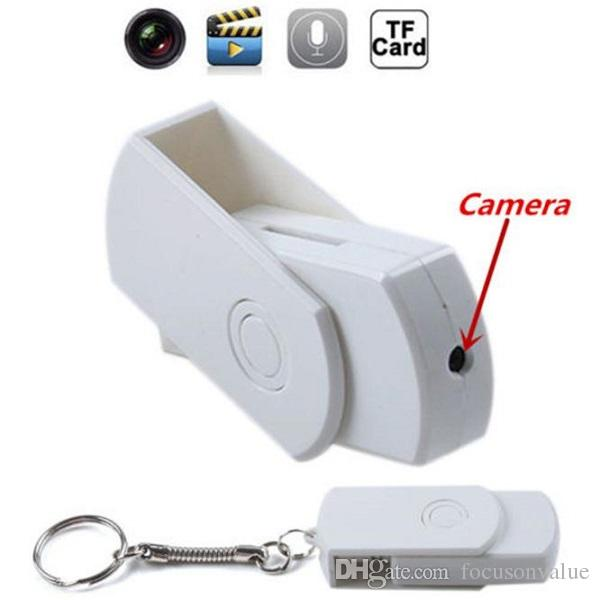 USB Disk Camera with Keychain U Disk Mini DVR Motion Detection Audio Voice Recorder USB Flash Drive Card Reader support 64GB 100pcs