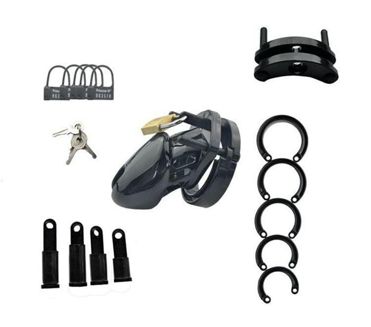 Male Chastity Device With 5 size Penis Ring,Black Cock Cage,Cock Ring,Virginity/Chastity Lock/Belt,Adult Game,Sex Toys,CB6000S q0506