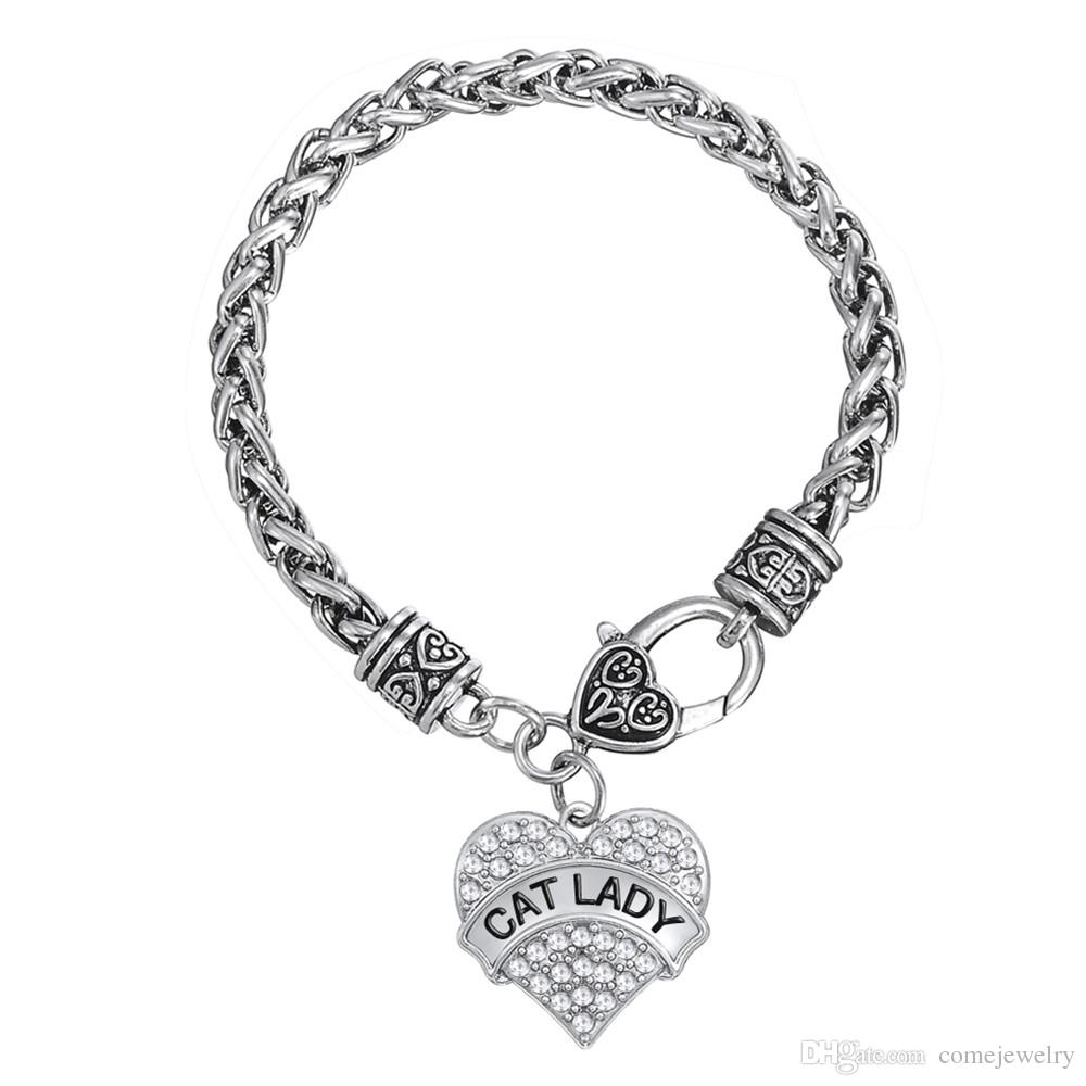 FASHION two Kind Zinc Alloy Silver Plated Alpahebt Thick Link Chain Heart Crystal Pendant For Mother Gifts Bracelets