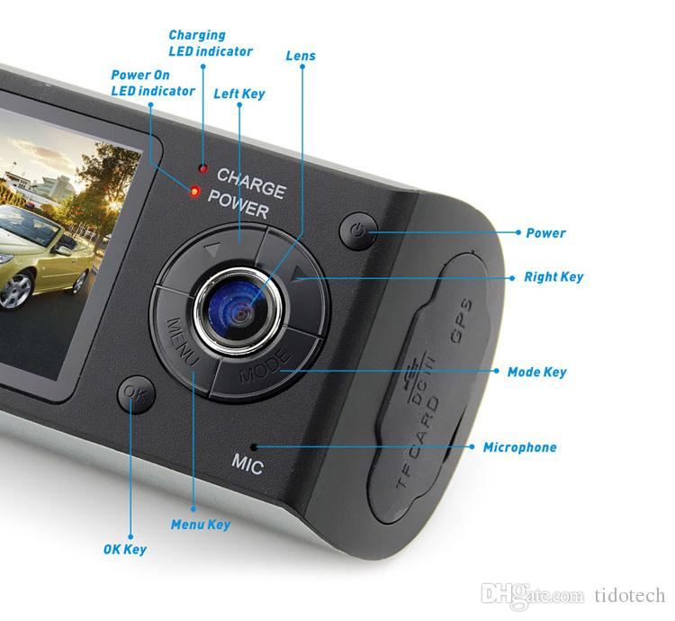 2.7 inch Full HD Screen Car DVR Camera Video Recorder Dash Cam G-Sensor GPS Dual Lens with Wide Angle