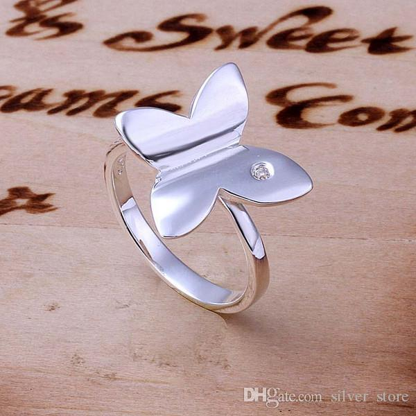 brand new Single stone butterfly sterling silver jewelry ring SR171, brand new white gemstone 925 silver finger rings Wedding Rings