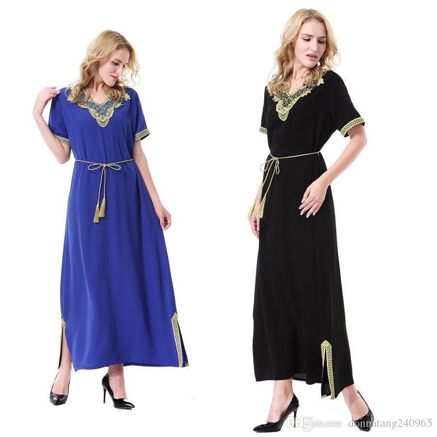 Muslim Dress Women Plus Size Short Sleeve Chiffon Fall Indian Embroidery  Ethnic Maxi Dress Islamic Clothing Robe Kaftan