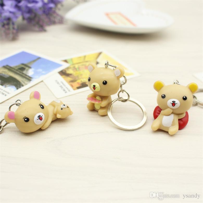 Mixte Visage En Plastique Caoutchouc 4 cm Mini Animal Porte-clés Pas Cher Cartoon Relax Ours Keychain pour Enfants Cadeau beaucoup