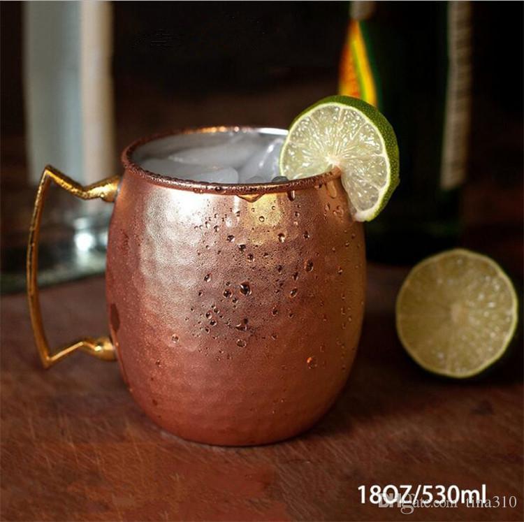 Martelé martelé en acier inoxydable en acier inoxydable cuivre mule mug définit des tasses de bière de type bouteille de boisson en verre de verre I017