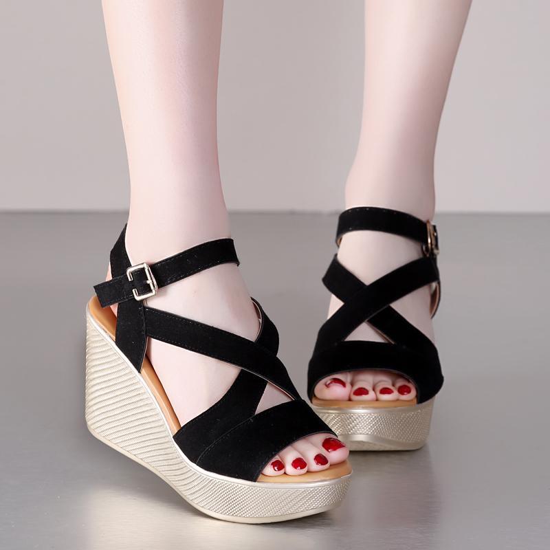 712ce4cb11 Scrub cowhide Platform Wedges sandals women shoes high heeled sandals 2016  large size genuine leather shoes women sandal shoes