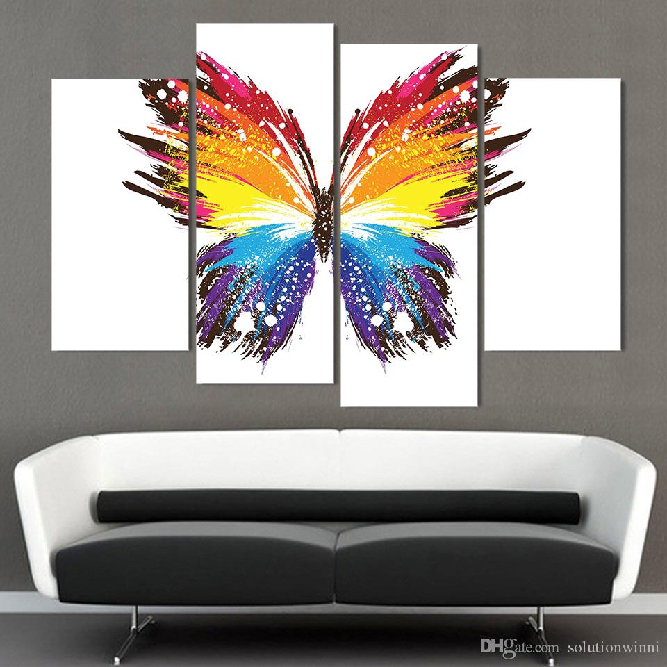 4 Panel Canvas Art Canvas Painting Butterfly Colorful Pattern HD Printed Wall Poster Home Decor Picture for Living Room XA076D