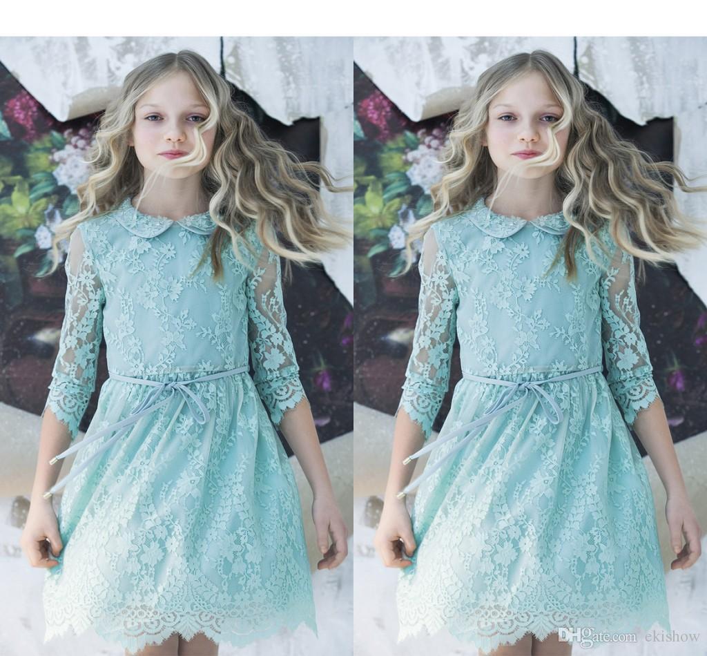 Tutu Flower Girl Dresses 2017 Mint Blue Cheap Girl's Long Sleeve Kids Lace Wedding Dresses Toddler Pageant Gowns For Little Girls