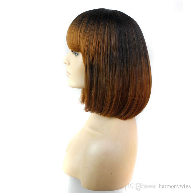 Ломбер синтетические парики волос с полной челкой 12 дюймов термостойкий черный синтетический короткий парик Боб популярный стиль