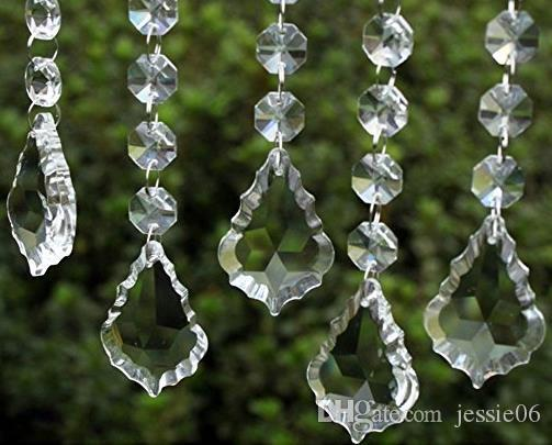 Clear Acrylic Crystal Pendants Hanging Bead Drape Garland Wall Panel Wedding Decor Garland Tassel Screen Christmas Tree DIY party Decorative