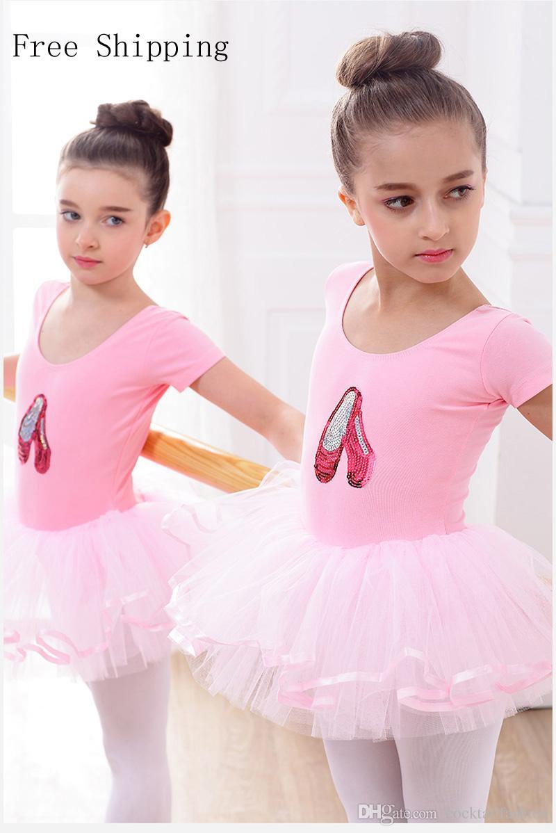 Compre Traje De Ballet Para Las Niñas De Manga Corta De Faldas ...