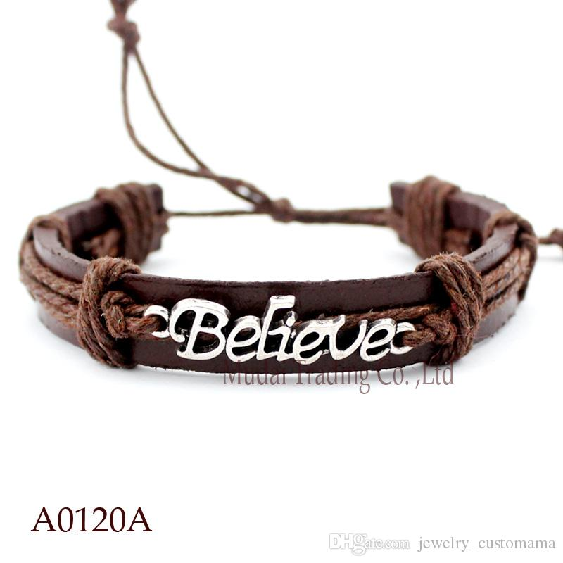 ANTIQUE SILVER BELIEVE CHARM Adjustable Leather Cuff Bracelets for Men & Women Bangle PUNK Friendship Casual Jewelry