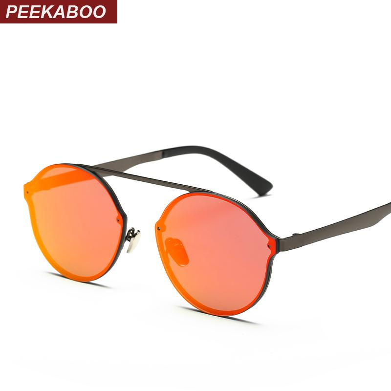 Wholesale- Peekaboo metal flat top rimless sunglasses round men retro round frame sunglasses women round mirror red pink