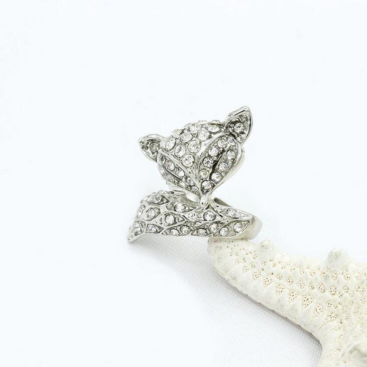 무료 배송 귀여운 크리스탈 폭스 반지 쥬얼리 도매 골드 / 실버 도금 전체 CZ 다이아몬드 반지 발렌타인 여성을위한 패션 여성 선물