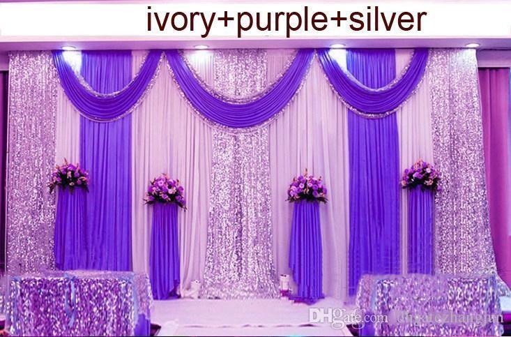 3m * 6m de toile de toile de mariage Swag Party Célébration Célébration Stage Stage Performance Fond Drape Silver Sequins Fournisseurs Fournisseurs