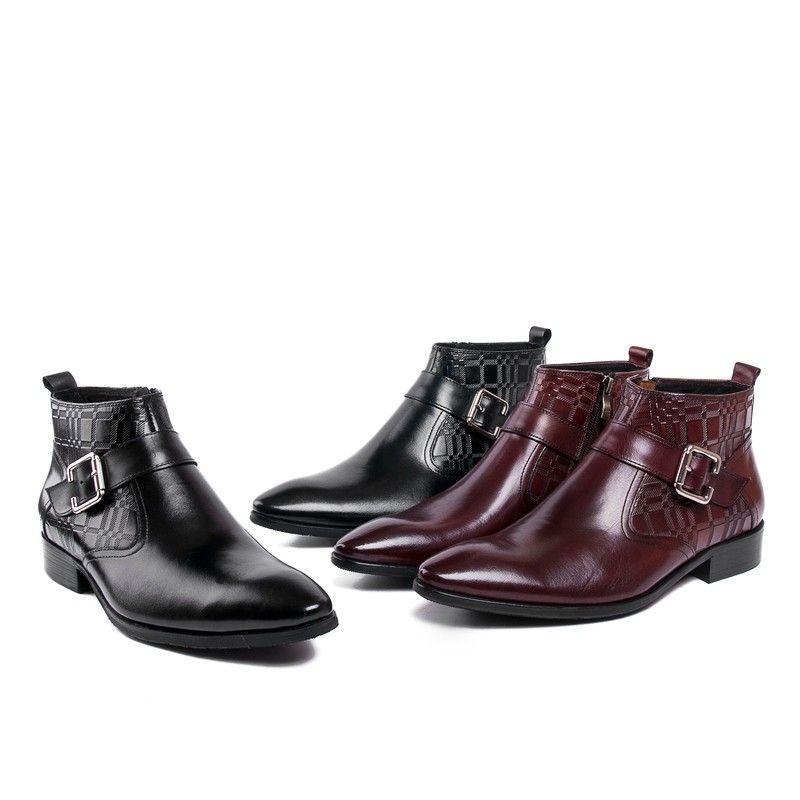 Fashion Brown Tan Black Dress Shoes Mens Ankle Boots Genuine