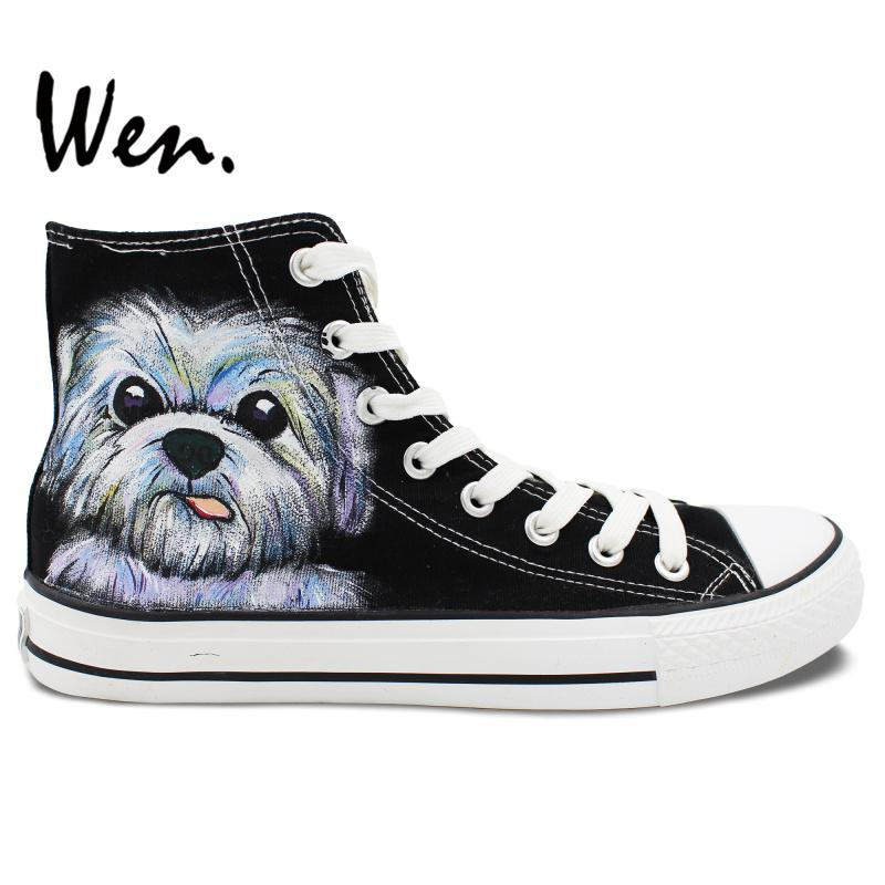 Wen Hand Painted Casual Shoes Custom Design Cute Pet Dog Black High Top Canvas Shoes Women Men's Christmas Gifts