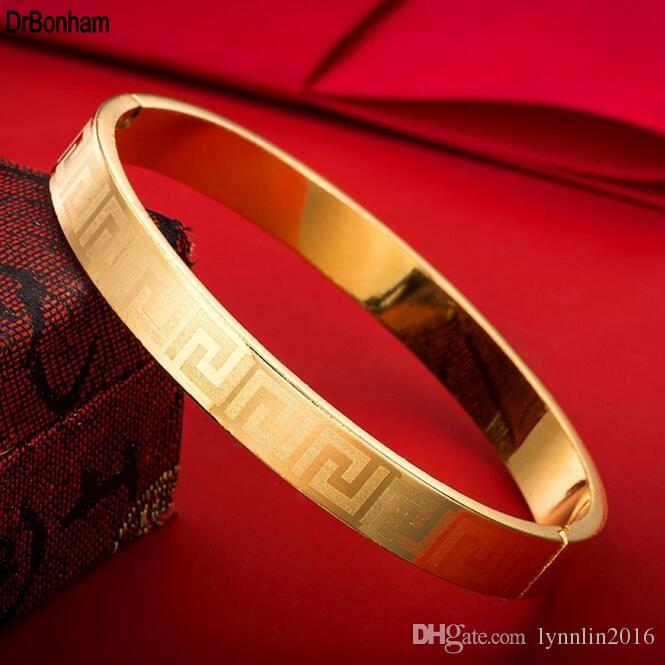 4mm / 6mm / 8mm Famosa Marca de Jóias Pulseira Pulseira 24 K Cor do Ouro chave grega gravar Pulseira Para mulheres homens