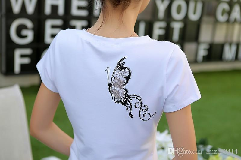 New 2017 Fashion Women t-shirts V-neck Summer Slim Women's Short Sleeve Print Casual Lace Cotton White Tshirt Plus Size Tops 3XL