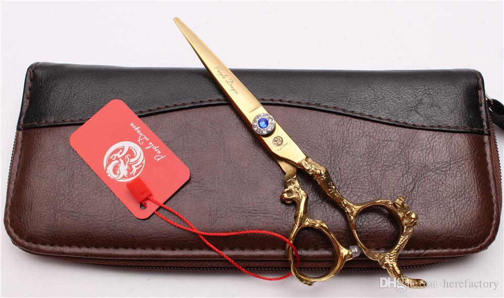 "Z9003 6"" 440C Purple Dragon Golden Professional Human Hair Scissors Barbers' Hairdressing Scissors Cutting Thinning Shears Salon Style Tools"