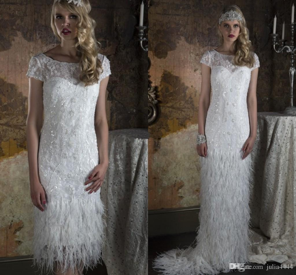 Discount Two Piece Feather Wedding Dresses With Greek Goddess Style Detachable Skirt Burlesque Gatsby 2017 Vintage Bridal Gowns For Uk Brides 2 In 1 Summer