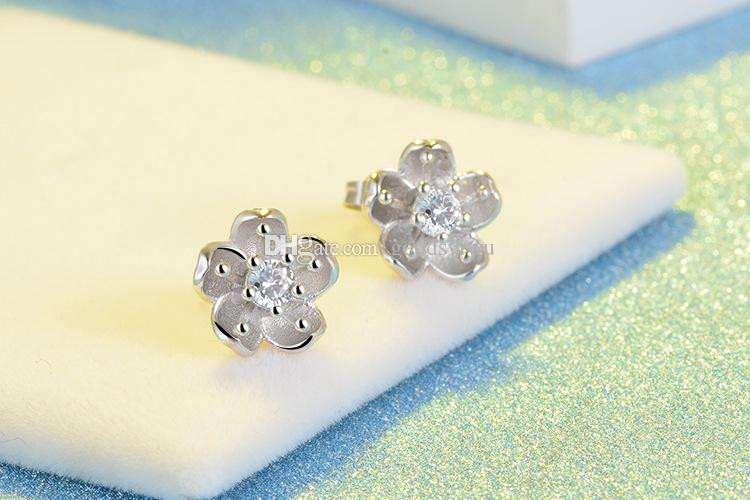 Fashion Sakura Flower White Crystal Stone Stud 925 Silver Plated Earrings Ear Jewelry for women Xmas Gift ED293