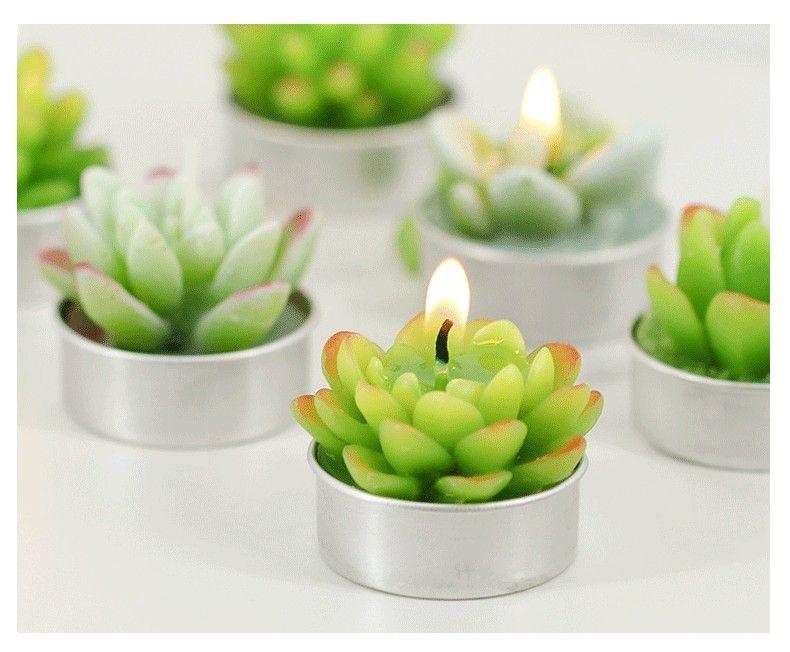 Venta caliente verde suculentas velas sin llama ZAKKA plantas en maceta forma perfumada lámpara de vela decoraciones de la fiesta de navidad velas Suministros