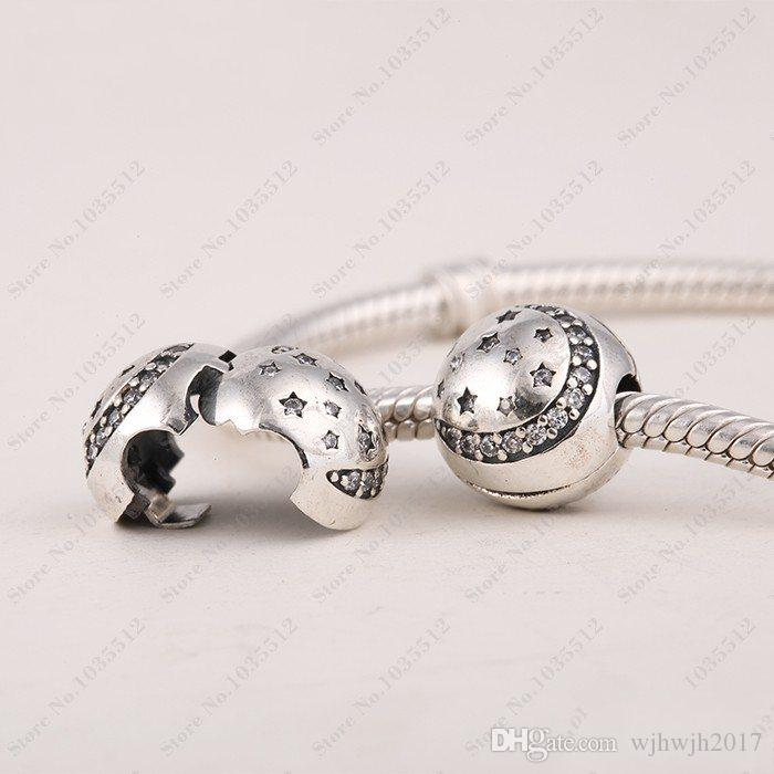 New Pave Sparkling Crystal Moon & Star Christmas Clip Beads 925 Sterling Silver Jewelry For Women Fit European Bracelets DIY Making HB149
